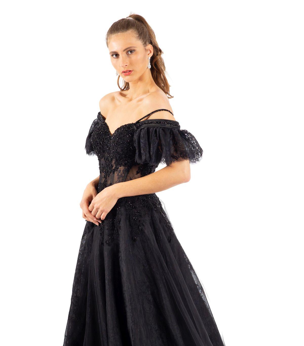 Anna schwarzes Brautkleid detailansicht