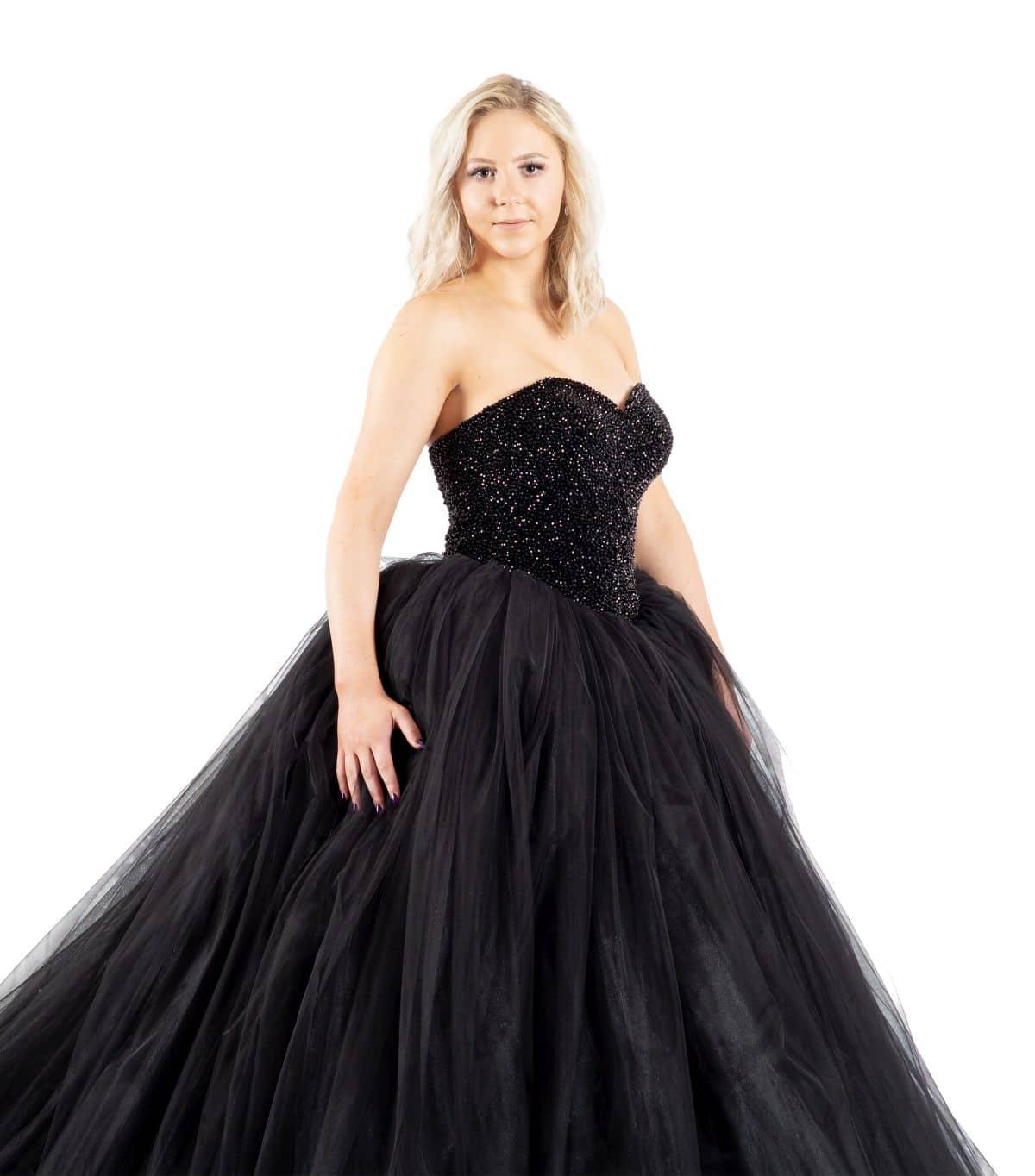 Cinderella schwarzes Brautkleid detailansicht