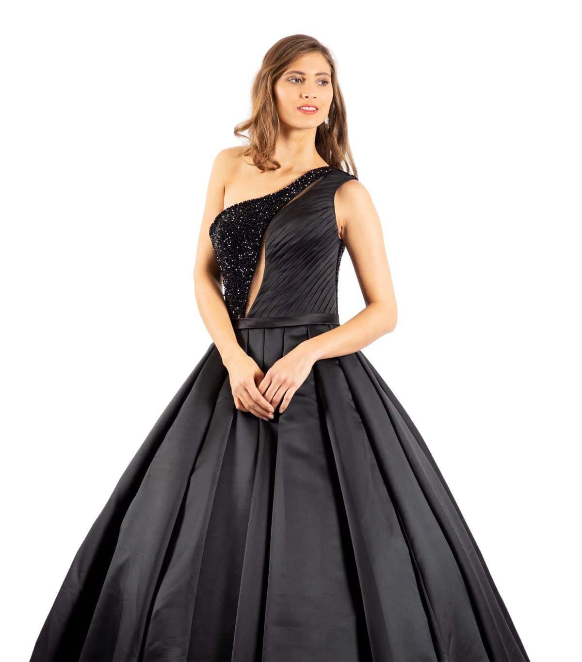Elisabeth schwarzes Brautkleid detailansicht
