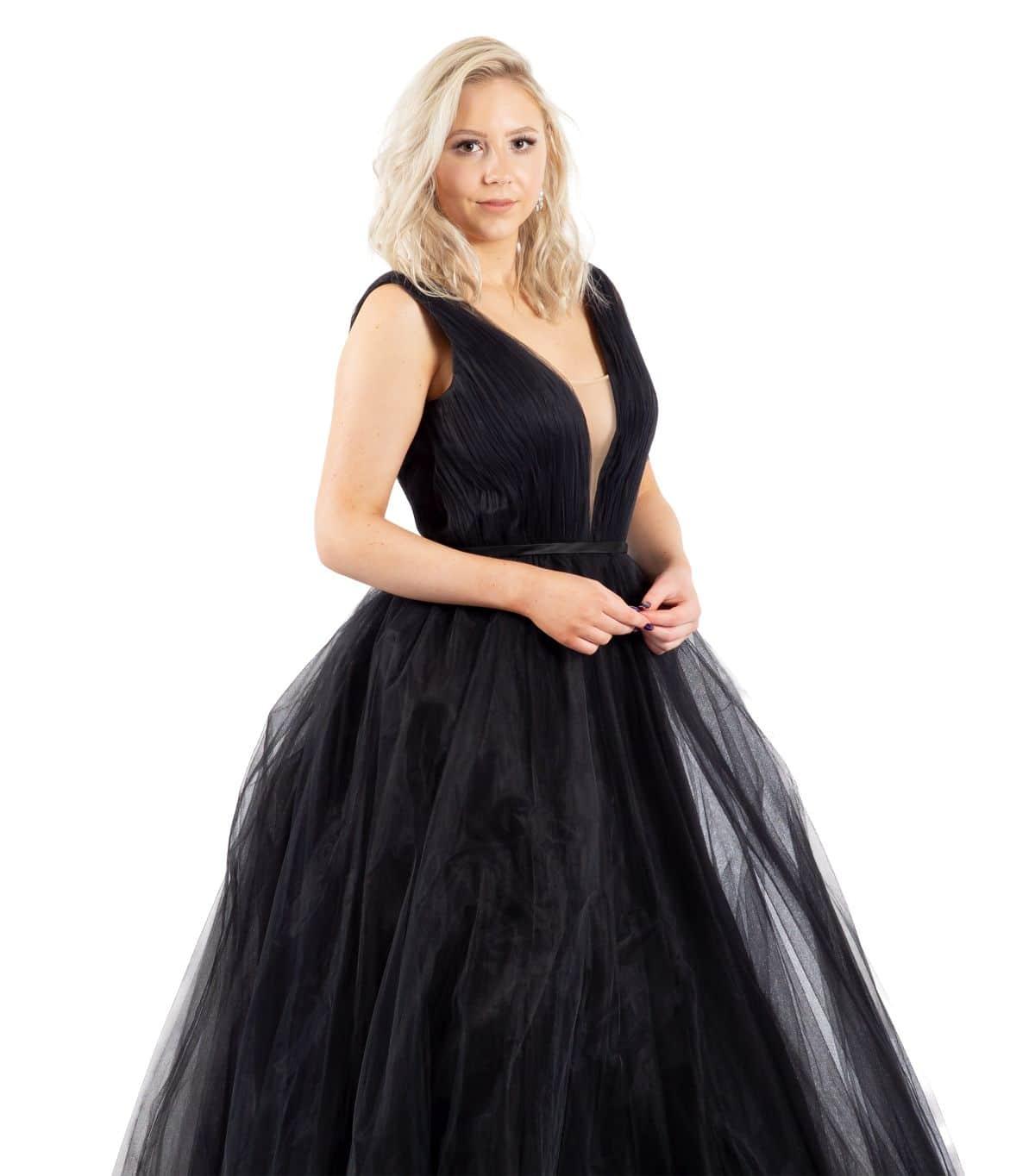 Jane schwarzes Brautkleid detailansicht