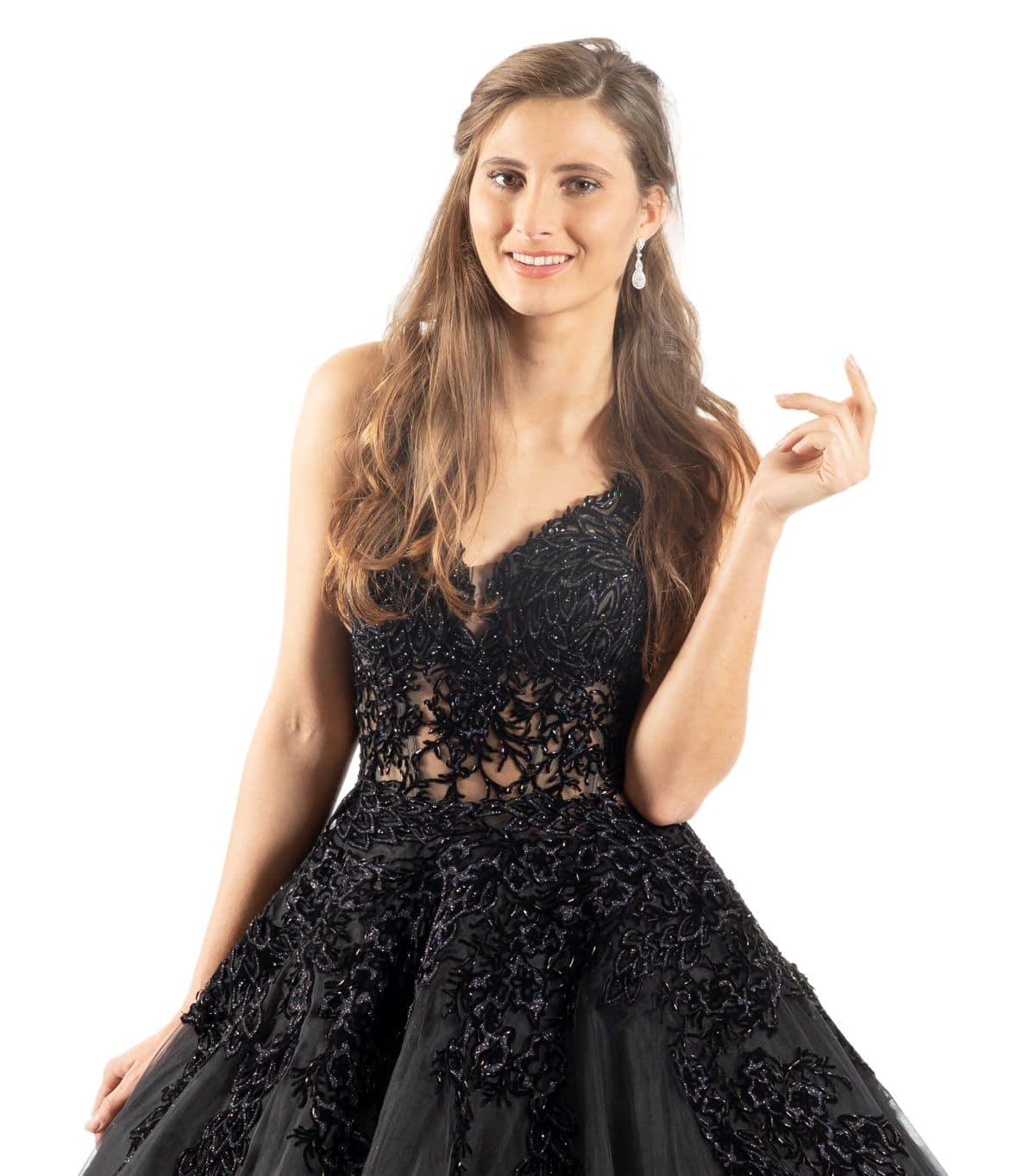 Jasmin schwarzes Brautkleid detailansicht
