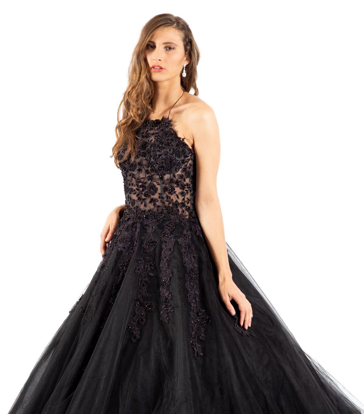 Natascha schwarzes Brautkleid detailansicht