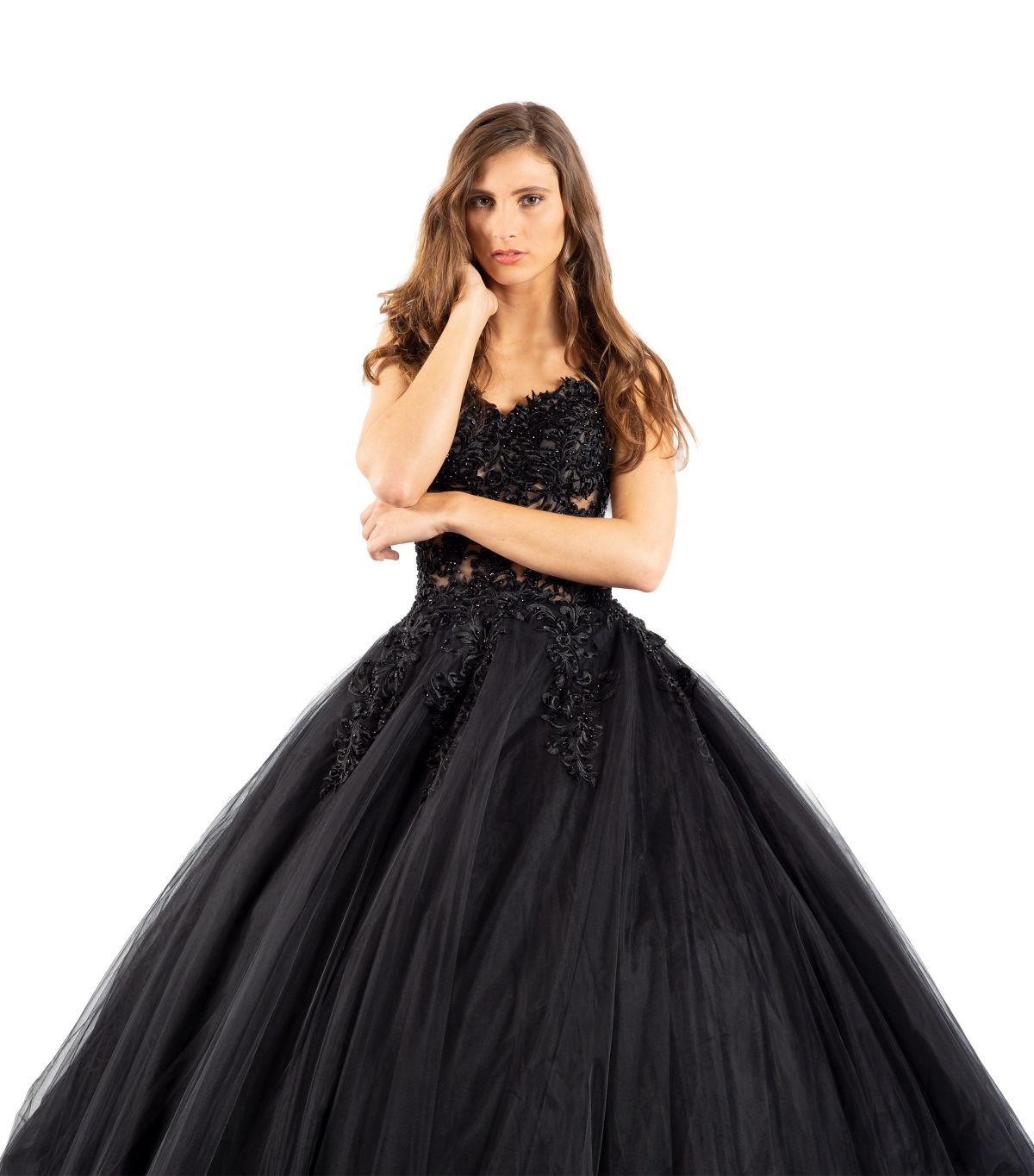 Olga schwarzes Brautkleid detailansicht