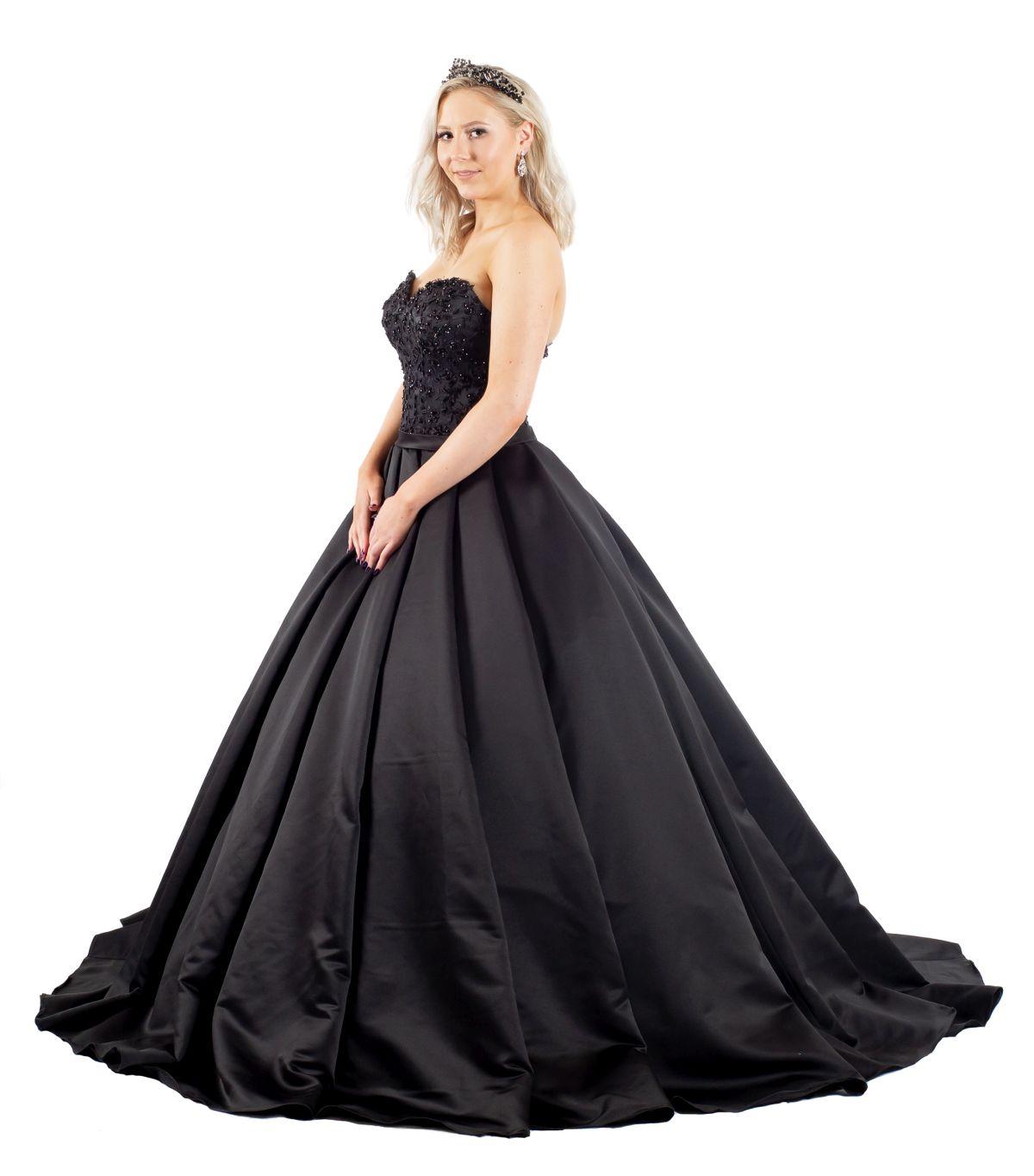 Rebeca schwarzes Brautkleid vorderansicht
