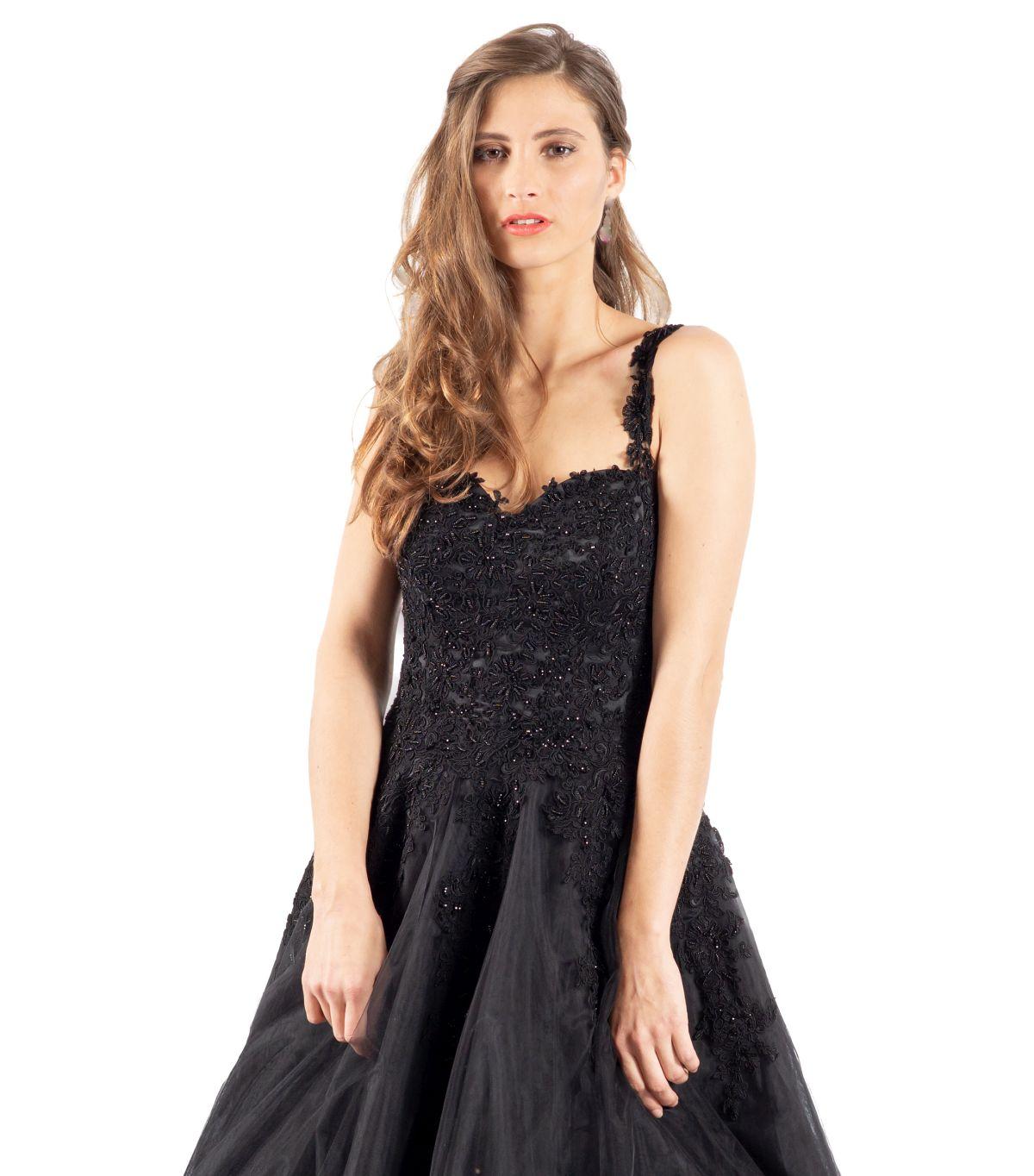Rosa schwarzes Brautkleid detailansicht